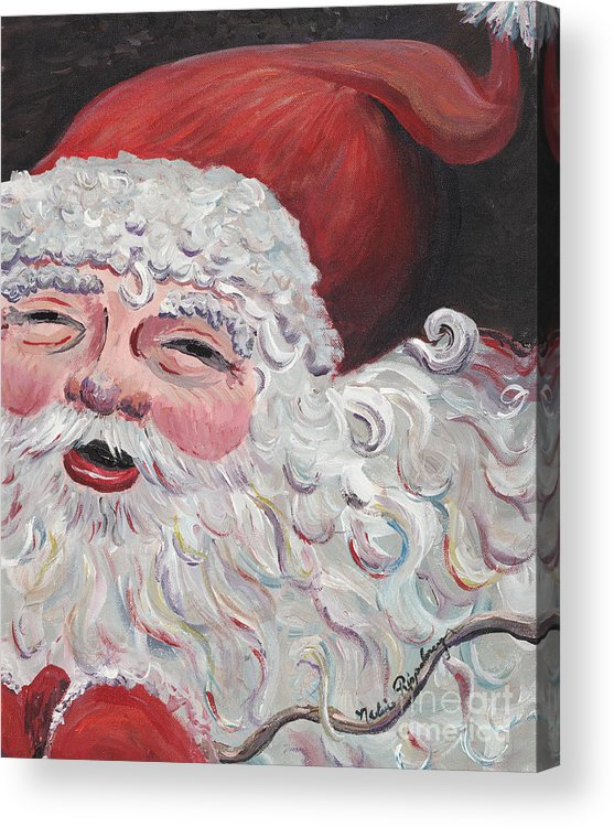 Santa Acrylic Print featuring the painting Jolly Santa by Nadine Rippelmeyer