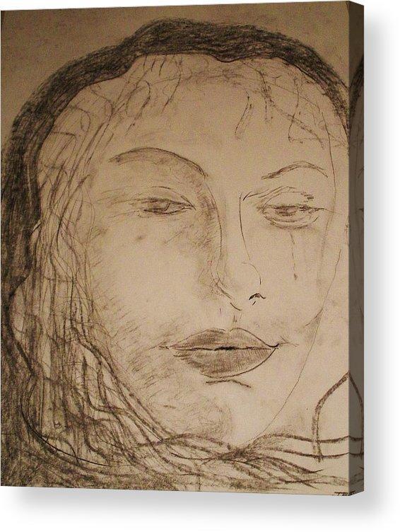 Romance Acrylic Print featuring the drawing Julia Weeps by J Bauer