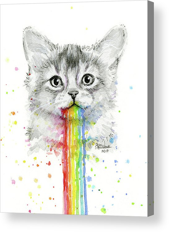 Kitten Acrylic Print featuring the painting Kitten Puking Rainbows by Olga Shvartsur