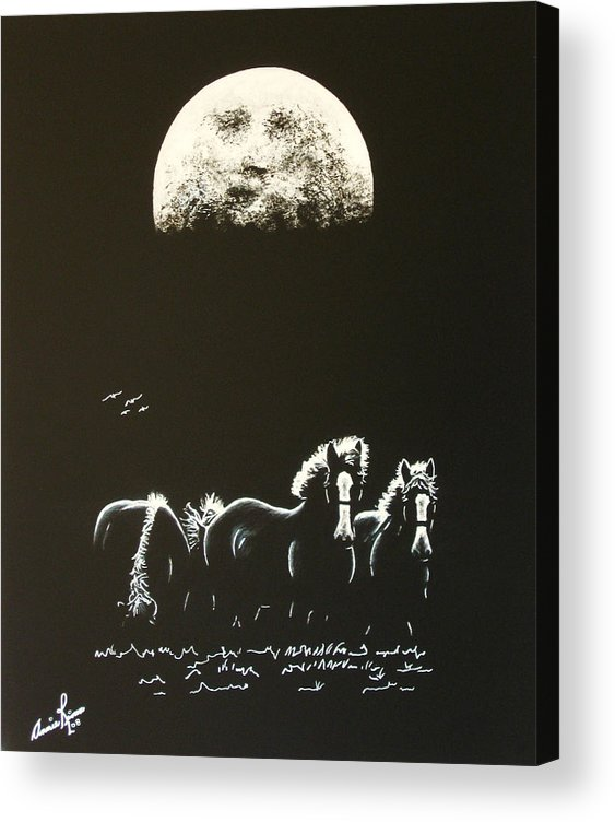 Contemporary Horse Acrylic Print featuring the painting La Protection by Annie Rioux