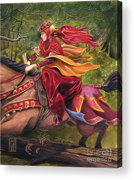 Camelot Acrylic Print featuring the painting Lady Lunete by Melissa A Benson
