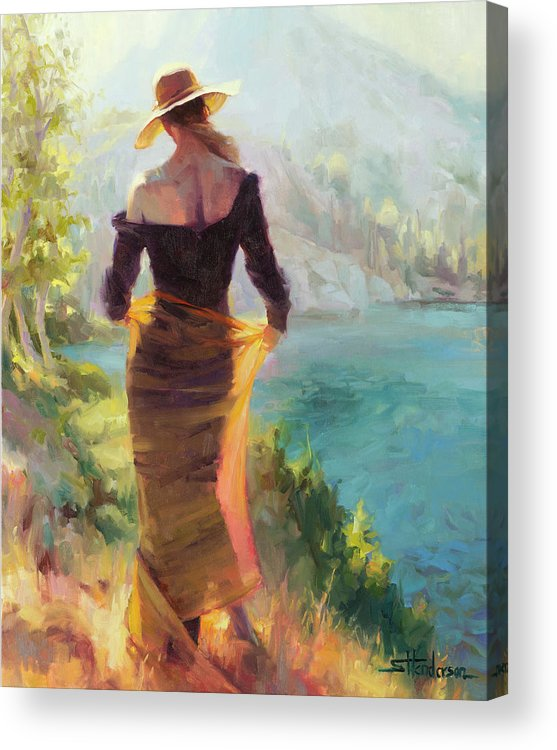 Woman Acrylic Print featuring the painting Lady of the Lake by Steve Henderson