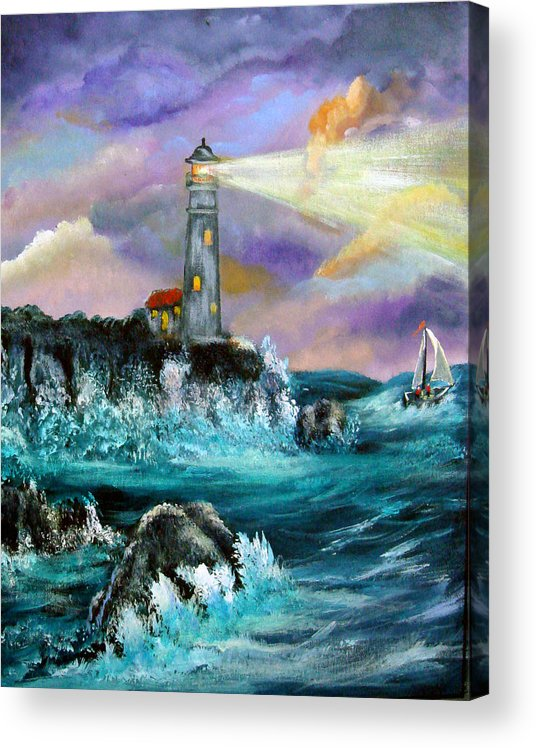 Lighthouse Acrylic Print featuring the painting Life's Storms by Darlene Green