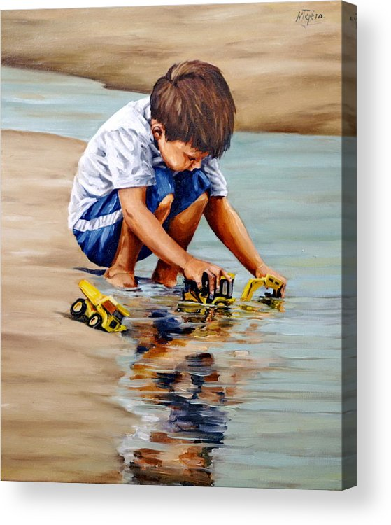 Child Acrylic Print featuring the painting Little guy playing by Natalia Tejera