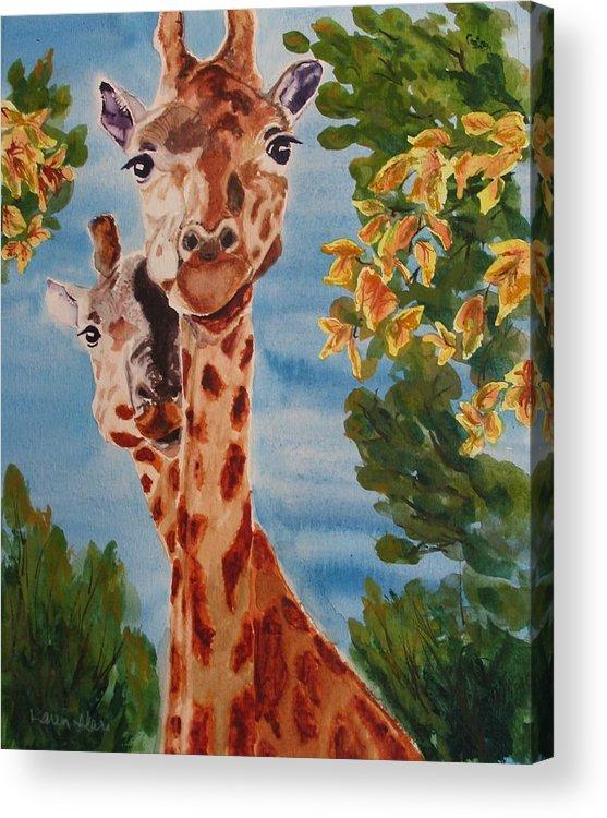 Giraffes Acrylic Print featuring the painting Lookin Back by Karen Ilari