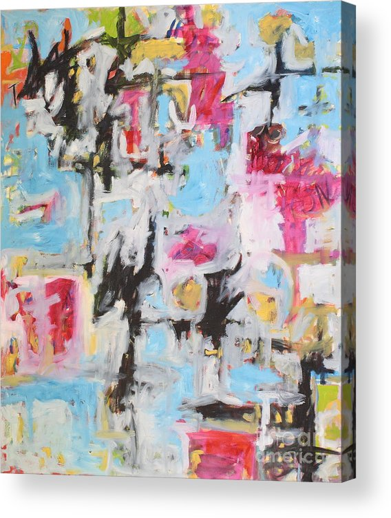 Painting Acrylic Print featuring the painting Magenta Abstract I by Michael Henderson