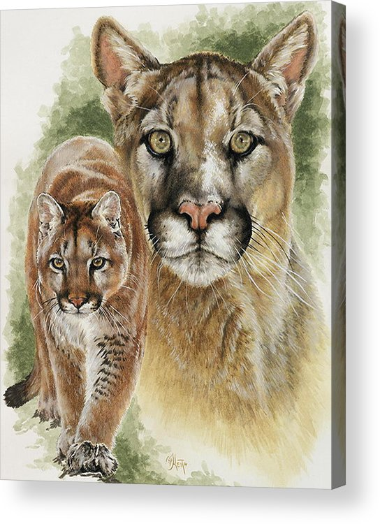 Cougar Acrylic Print featuring the mixed media Mighty by Barbara Keith
