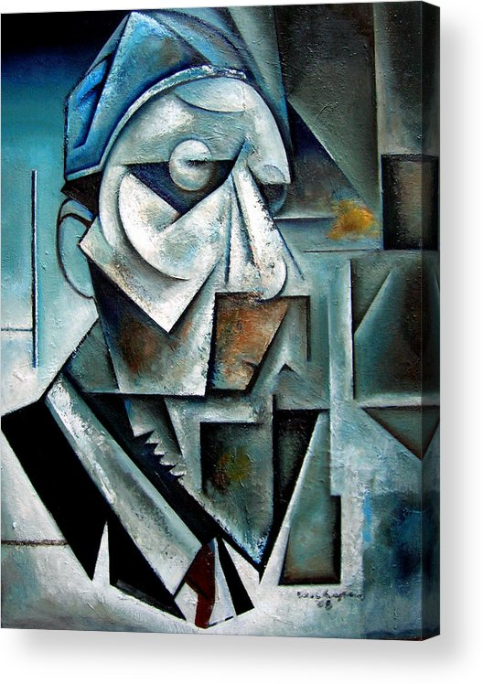 Thelonious Monk Jazz Piano Cubist Portrait Acrylic Print featuring the painting Misterioso by Martel Chapman