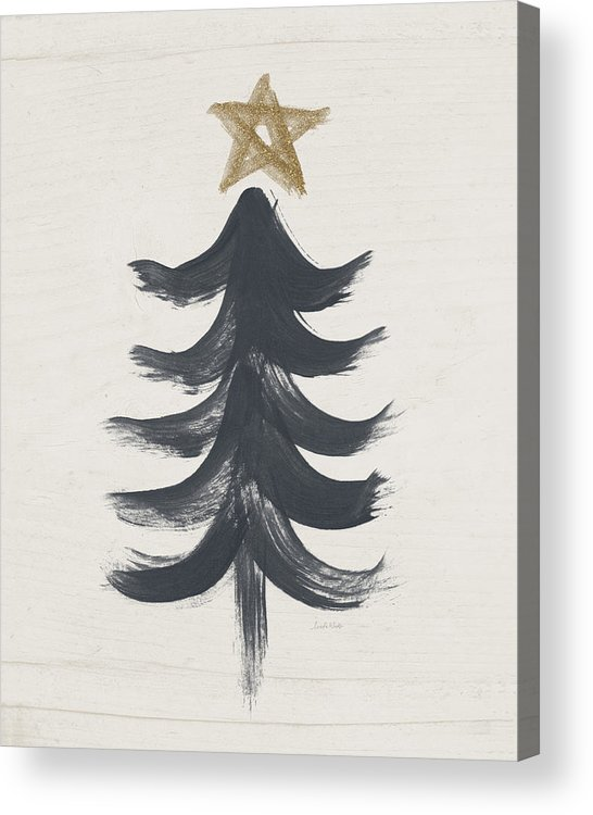 Contemporary Acrylic Print featuring the painting Modern Primitive Black and Gold Tree 1- Art by Linda Woods by Linda Woods