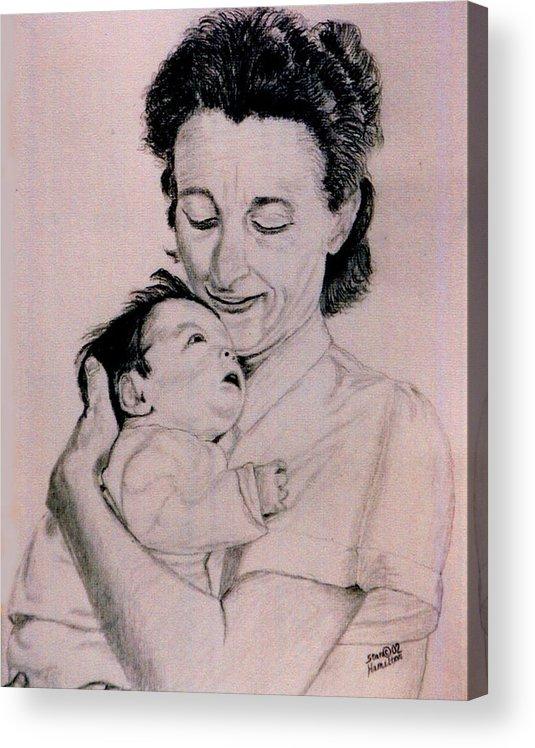Modona Acrylic Print featuring the drawing Modona and Baby by Stan Hamilton