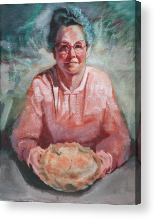 Mom Acrylic Print featuring the painting Mom and Apple Pie by Robert Bissett