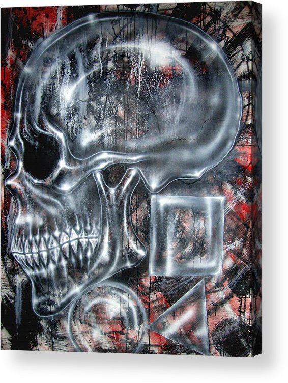 Skull Acrylic Print featuring the painting Monkey Man Does Math by Leigh Odom