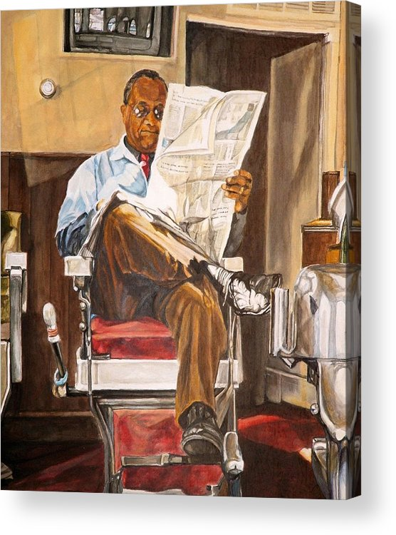 Barbershop Acrylic Print featuring the painting Morning Slump by Thomas Akers
