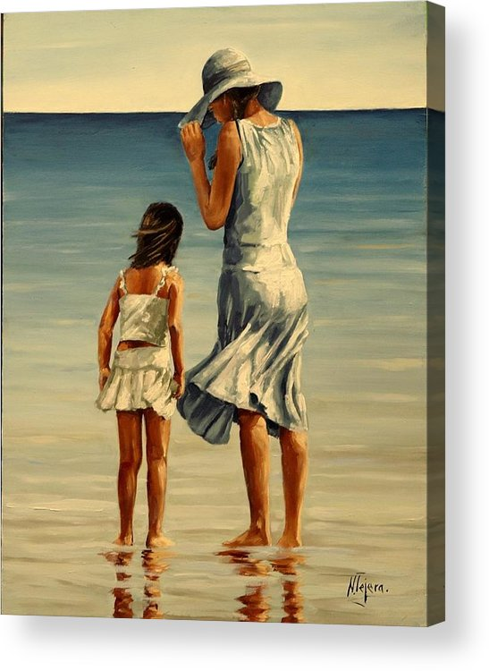Figurative Acrylic Print featuring the painting Mother and daughter III by Natalia Tejera