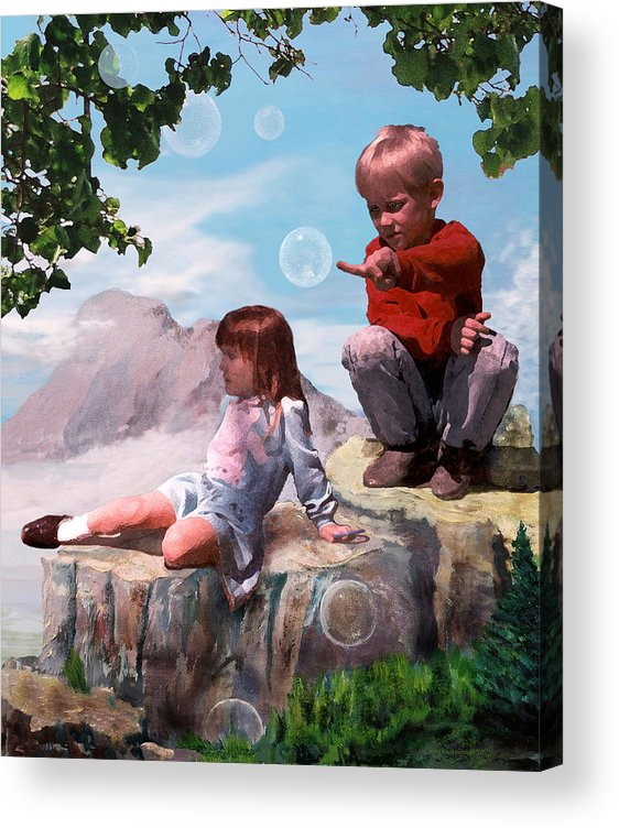 Landscape Acrylic Print featuring the painting Mount Innocence by Steve Karol