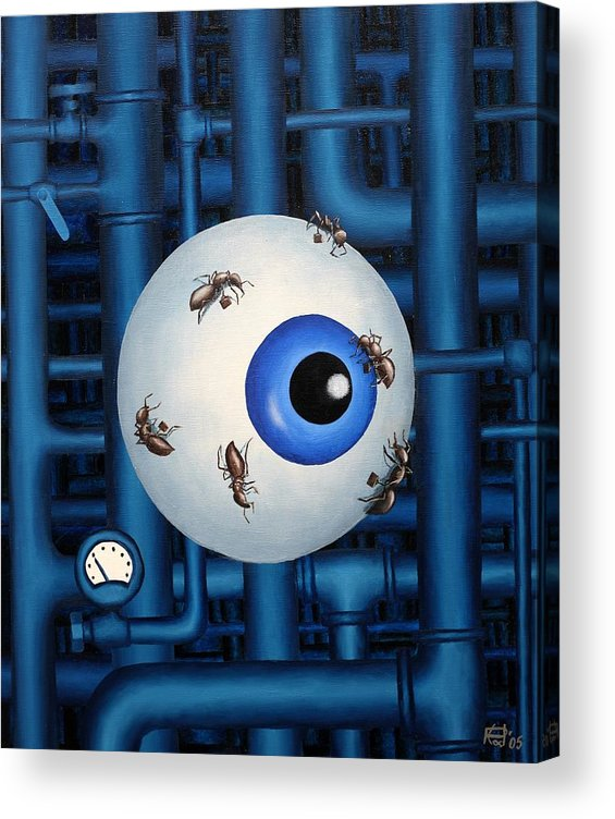 Steampunk Pipes Eye Ants Clock Industrial Surreal Acrylic Print featuring the painting My Day Job by Poul Costinsky