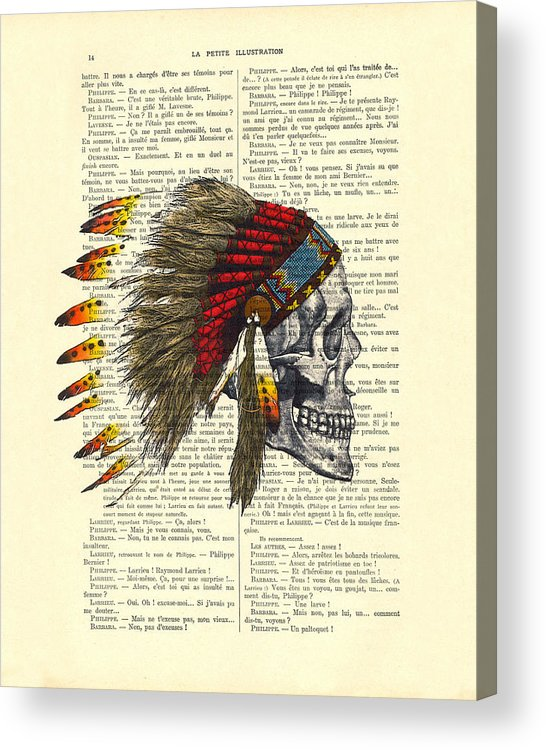 Native American Acrylic Print featuring the digital art Native American Skull by Madame Memento