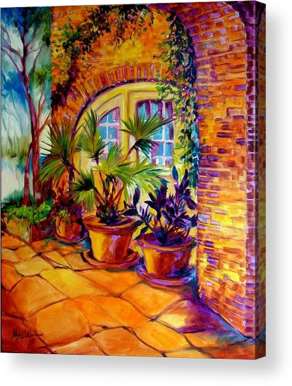 New Orleans Acrylic Print featuring the painting NEW ORLEANS COURTYARD by M BALDWIN by Marcia Baldwin