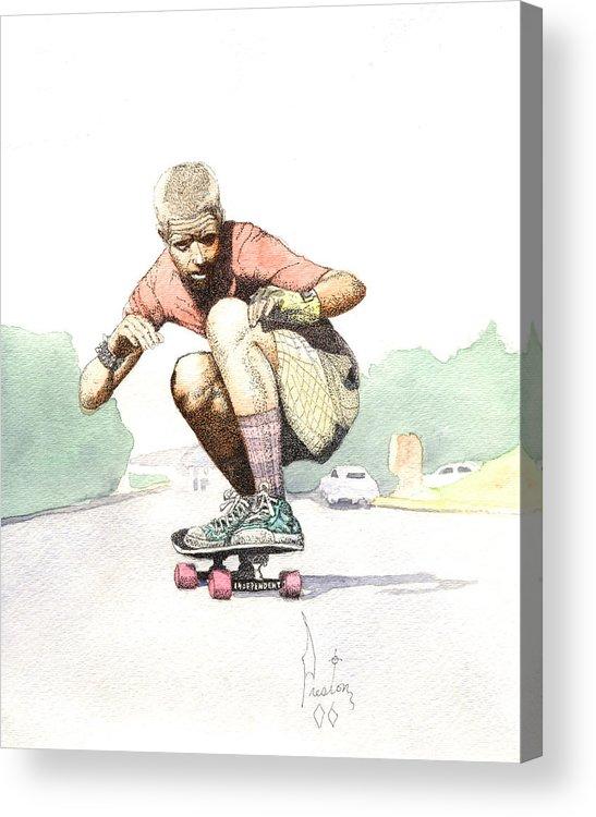 Duane Peters Skateboard Art Old School Nhs Santa Cruz Punk Skater Skateboarder Thrasher Acrylic Print featuring the painting Old School Skater by Preston Shupp