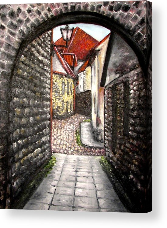 Town Acrylic Print featuring the painting Old Town Oil Paining by Natalja Picugina