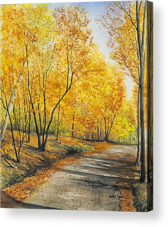 Autumn Acrylic Print featuring the painting On Golden Road by Mary Tuomi