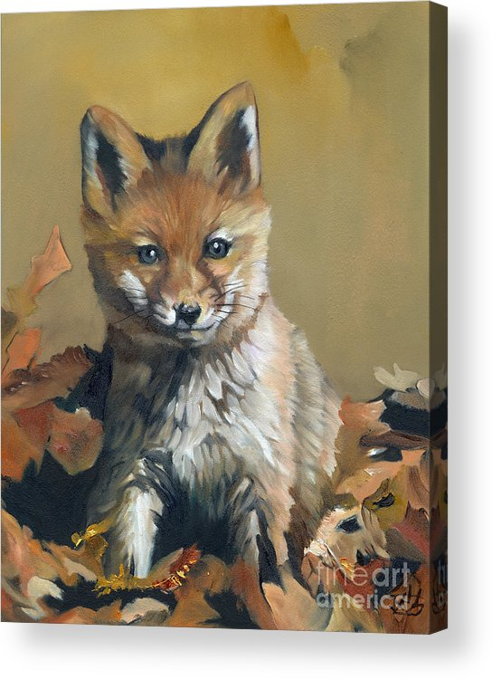 Fox Acrylic Print featuring the painting Once upon a time by J W Baker