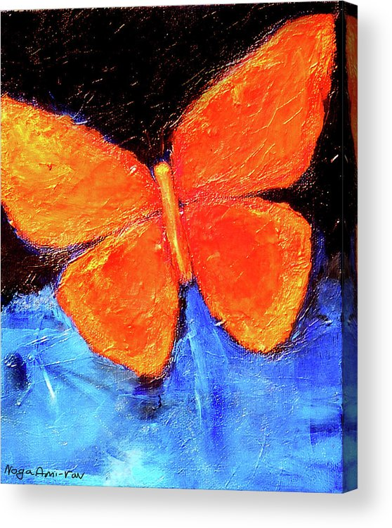 Butterfly Acrylic Print featuring the painting Orange Butterfly by Noga Ami-rav