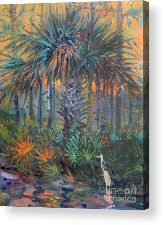 Egret Acrylic Print featuring the painting Palm and Egret by Donald Maier