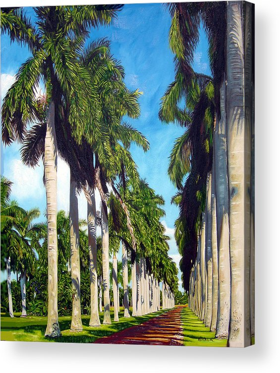 Palms Acrylic Print featuring the painting Palms by Jose Manuel Abraham