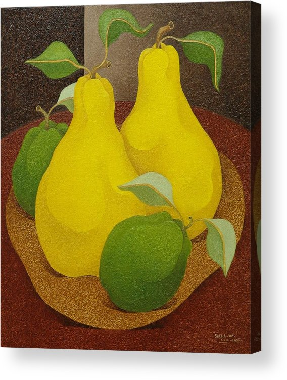 Sacha Circulism Circulismo Toothpick Paintings Acrylic Print featuring the painting Pears and Apples 2006 by S A C H A - Circulism Technique