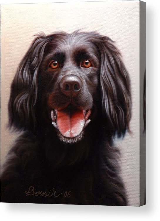 Black Labrador Acrylic Print featuring the painting Pet Portrait of a Black Labrador by Eric Bossik