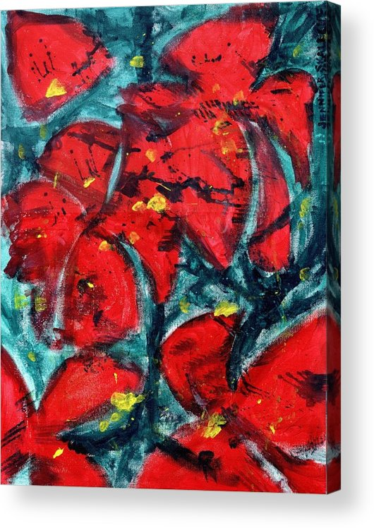 Flowers Acrylic Print featuring the painting Poppies - www.jennifer-d-art.com by Jennifer Skalecke