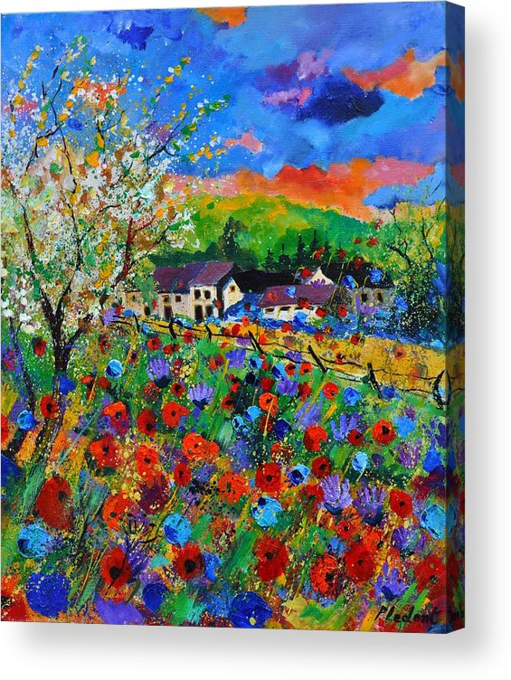 Poppies Acrylic Print featuring the painting Poppies in Sorinnes by Pol Ledent