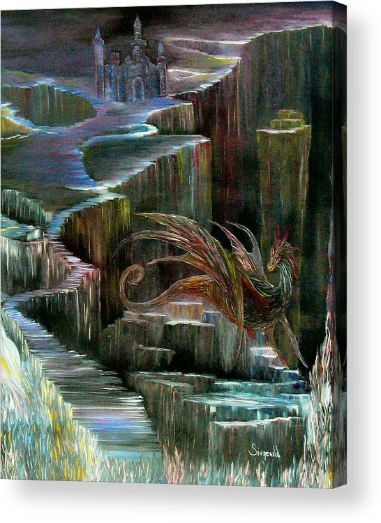 Dragon Acrylic Print featuring the painting Protector by Cary Singewald