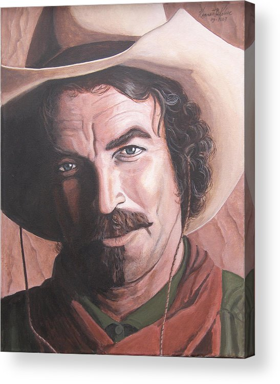 Cowboy Acrylic Print featuring the painting Quigley by Kenneth Kelsoe