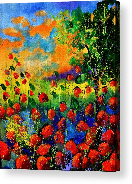 Flowers Acrylic Print featuring the painting Red Poppies 45150 by Pol Ledent