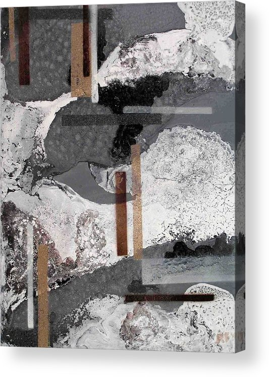 Abstract Acrylic Print featuring the painting Research In Grey Clouds by Evguenia Men