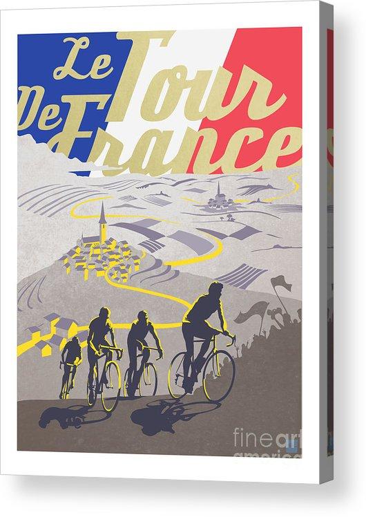 Vintage Tour De France Acrylic Print featuring the painting Retro Tour de France by Sassan Filsoof