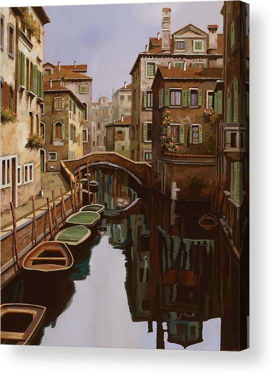 Venice Acrylic Print featuring the painting Riflesso Scuro by Guido Borelli
