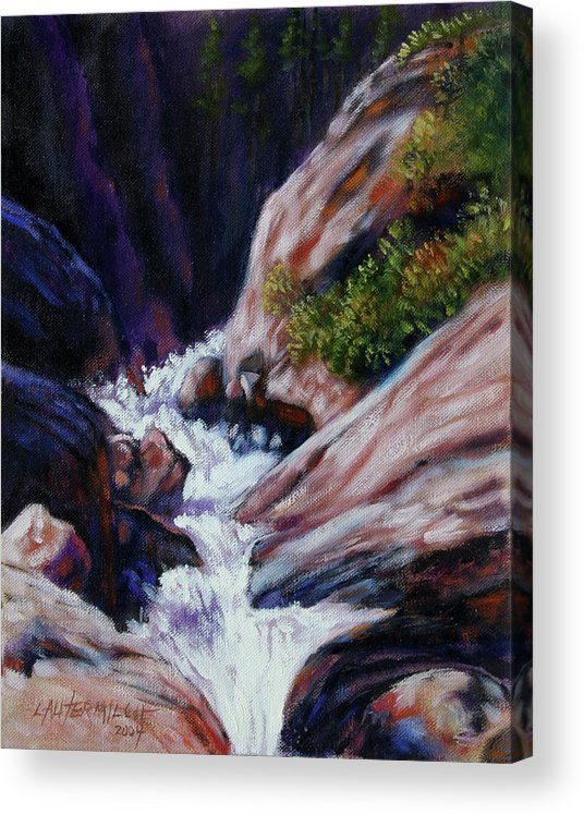 Mountain Stream Acrylic Print featuring the painting Rushing Waters two by John Lautermilch