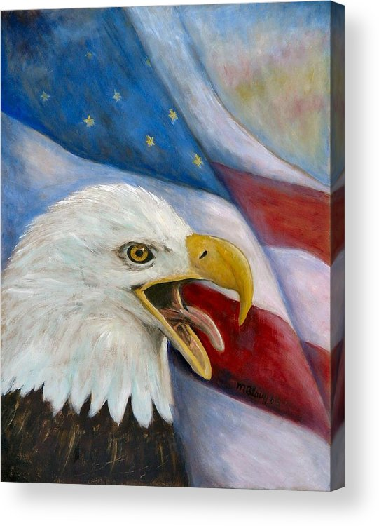 Birds Acrylic Print featuring the painting Screaming Eagle by Merle Blair