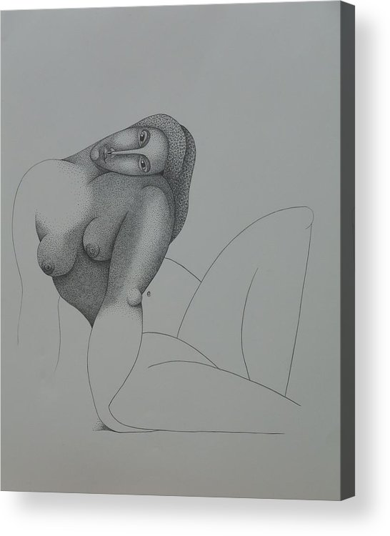 Sacha Circulism Acrylic Print featuring the drawing Seated Nude 2008 by S A C H A - Circulism Technique