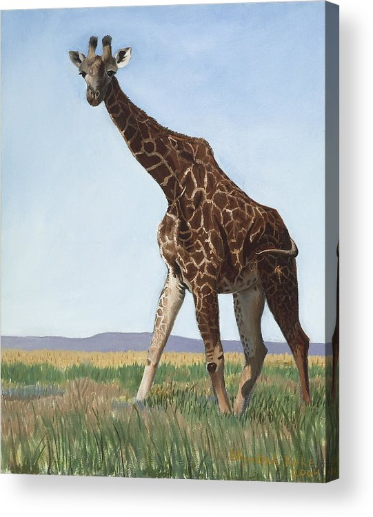 Giraffe Acrylic Print featuring the painting Serengeti Longneck by Elizabeth Rieke Hefley