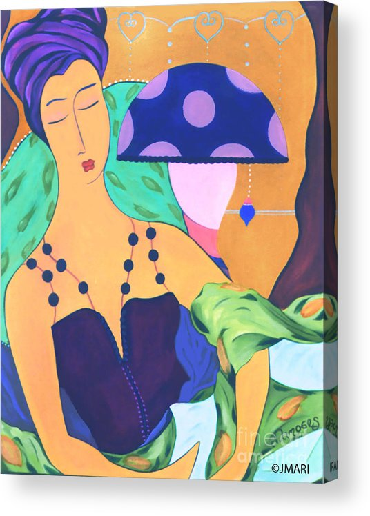#female #figurative #decorative #pics #fineart #art #images #painter #artist #print #commisioned #feminine #women #dreamy #enchantment #simplepleasures Acrylic Print featuring the painting Simple Pleasures by Jacquelinemari
