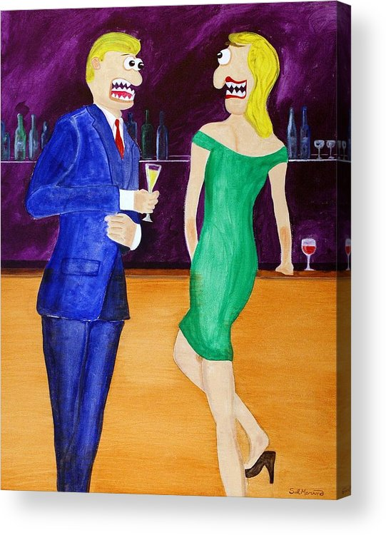 Funism Acrylic Print featuring the painting Small Talk by Sal Marino