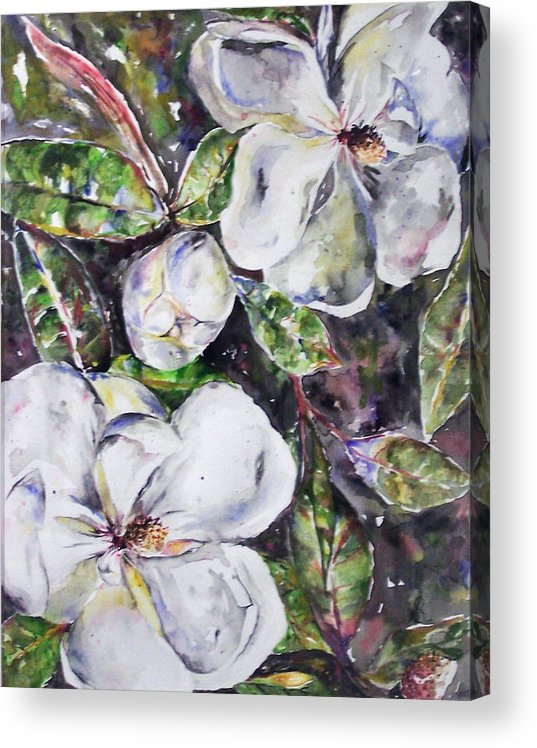 Magnolia Acrylic Print featuring the painting SOLD Steal Magnolias by Amanda Sanford