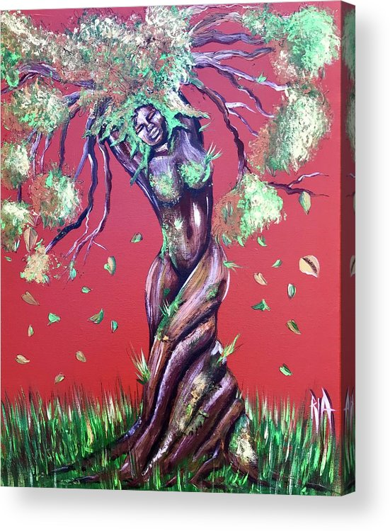 Tree Acrylic Print featuring the painting Stay Rooted- Stay Grounded by Artist RiA