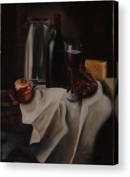 Wine Acrylic Print featuring the painting Still life with apple by Nellie Visser