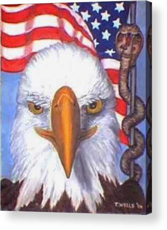 Freedom Eagle Cobra Flag Acrylic Print featuring the print Terrorists are Slithering in on the Backside of our Freedom by Tanna Lee M Wells