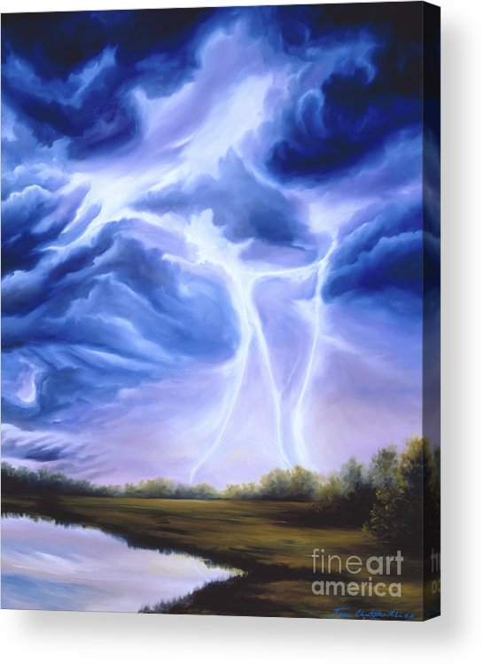 Marsh Acrylic Print featuring the painting Tesla by James Christopher Hill